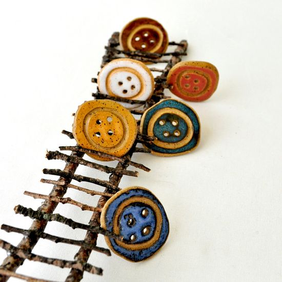 Pottery buttons Crochet Handmade stoneware Button Set Knitting 1.5 inch Sewing Unique Clay buttons set of 4