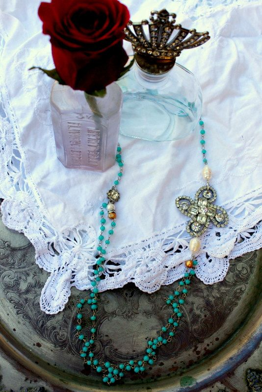 Vintage Rhinestone and Tiffany Blue Beaded Necklace~