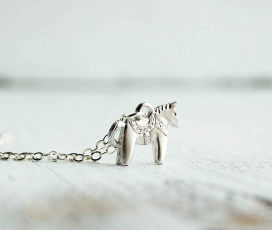 Tiny Dala HORSE Charm Necklace Swedish HORSE by redtruckdesigns