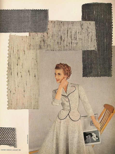 Love the pale, heathered grey and the eye-catching, but in no way scene-stealing, black piping. #vintage #1950s #fashion #dress #suit #grey