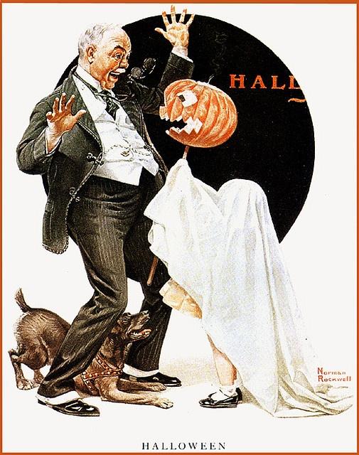 Norman Rockwell--Halloween Prank--Vintage Halloween Illustration