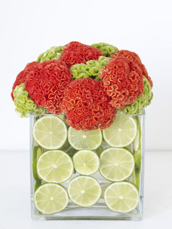 Fruit + Flower Cube: Modern Arrangement of Cockscomb Flowers and Limes >> www.hgtv.com/... #MothersDay