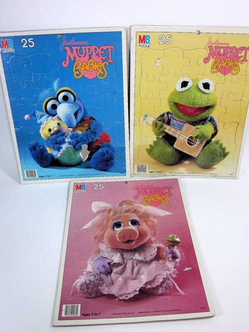 Three very cute Muppet Babies puzzles from the 80s. #vintage #retro #toys #nostalgia #1980s #Muppets