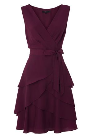 Wine colored, ruffle party dress