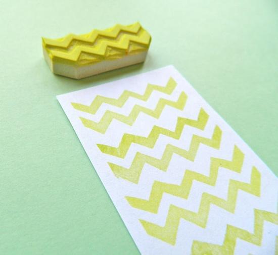 Mini Chevron Pattern Maker - Hand Carved Rubber Stamp. $8.00, via Etsy.