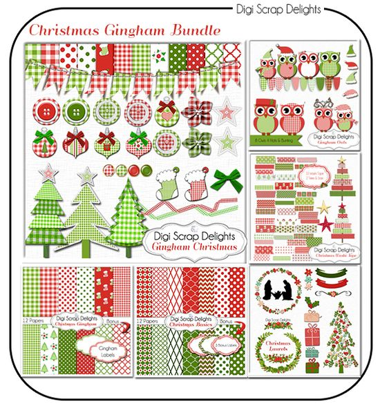 christmas gingham digital scrapbook kit