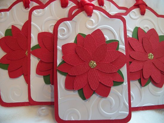 Gift Tags, Christmas Gift Tags, Red Flower Gift Tags, Red Gift Tags, Handmade Christmas Gift Tags, Christmas Flower Gift Tags. $5.50, via Etsy.