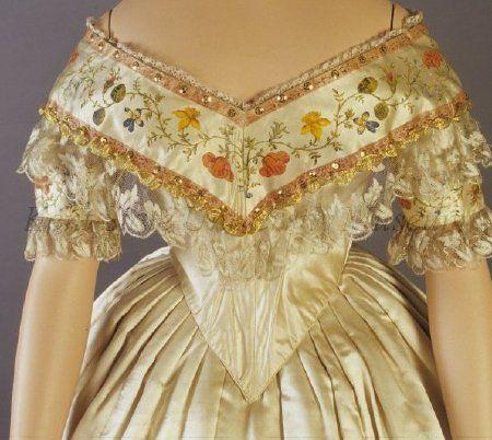 Evening dress, ca 1855