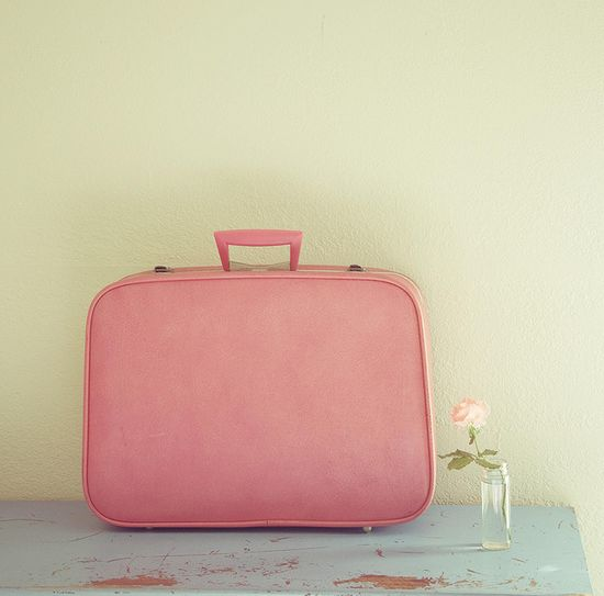 pink suitcase and flower