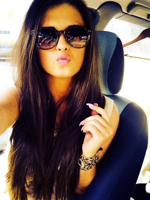 lips sunglasses long hair