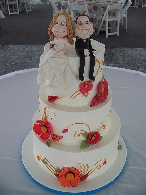 Caricature Wedding Cake by Erin Salerno, via Flickr