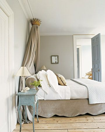 beautiful neutral bedroom. I love the pop of color with the bedside table