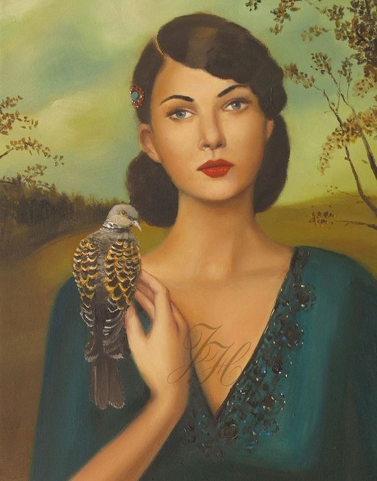 Elspeth With Her Turtledove- Art Print From Original Oil Painting - by janethill