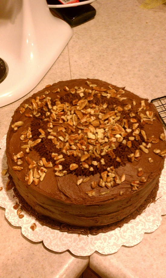Fudge pecan ripple layer cake. Southern living homestyle cooking.
