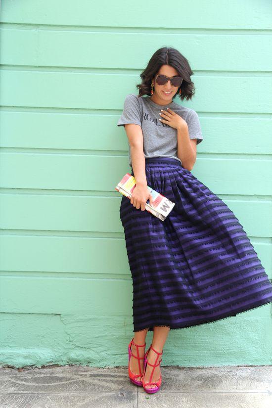 tee and midi skirt