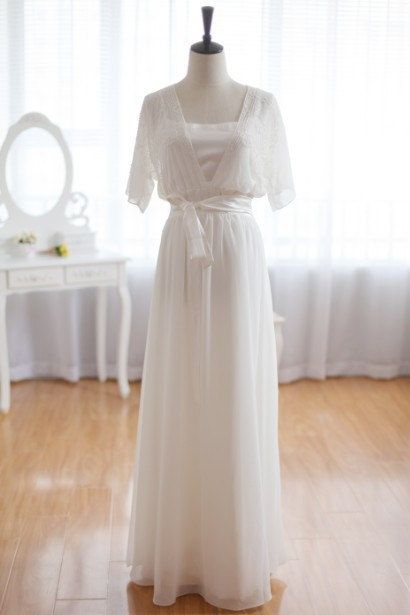 Vintage Inspired Chiffon Wedding dress Beaded Top Elbow Quarter Sleeves Dress Open Slit Back Bridal Gown. $409.00, via Etsy.