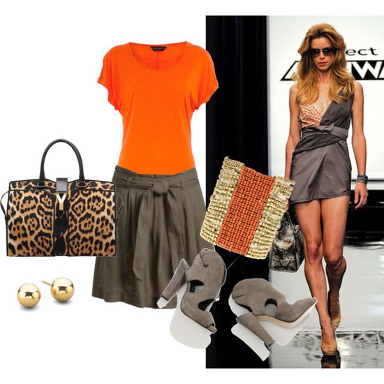love the orange top and gray skirt!!