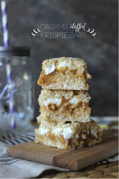 caramel stuffed krispie bars via cookiesandcups.com