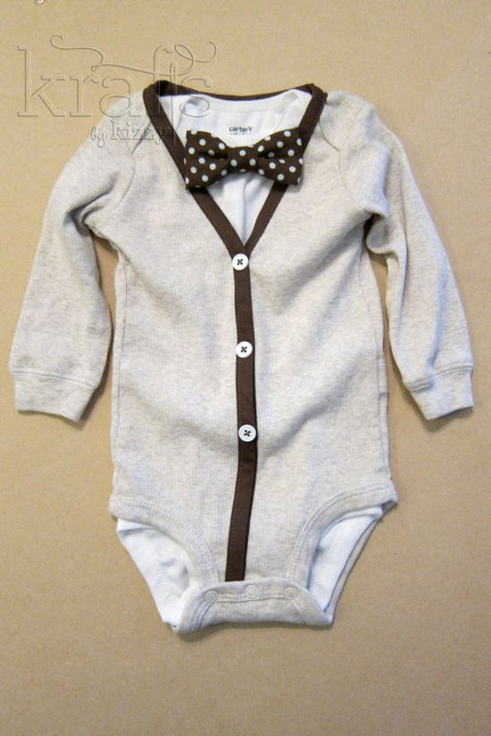 Baby Boy Outfit - Cream/Brown Cardigan & Onesie with Removable Brown/Baby Blue Polka Dot Bow Tie onesie via Etsy
