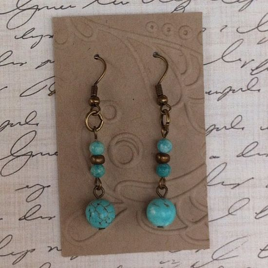 Antiqued Brass and Turquoise Earrings 1 1/2 by lastsummertreasures, $10.00