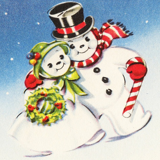 Darling vintage snowman couple. #vintage #Christmas #cards