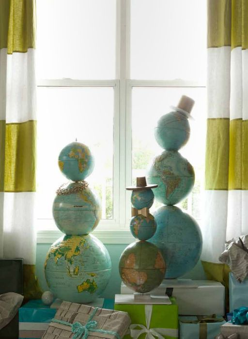 globe snowmen by Emily Henderson // holiday decorating ideas  Click to see 8 more creative holiday DIY projects.