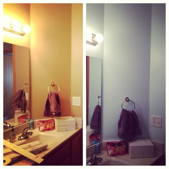 Bathroom before and after paint job! Decor still to come!