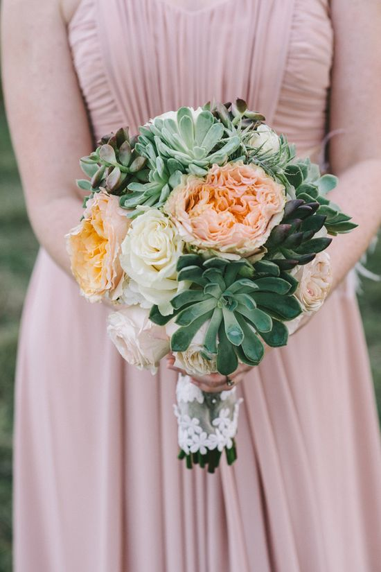 large succulent and rose bouquet // photo by Nathan Russell // flowers by Articulture Designs