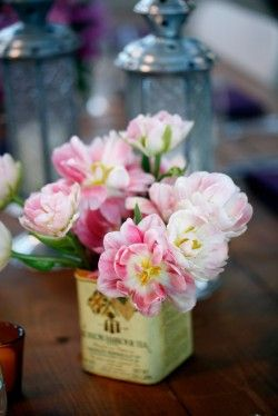 ~ I need to look for pretty tins for simple flower arrangements