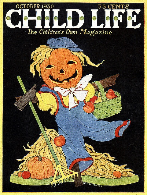 Jolly JOL Scarecrow-Vintage Halloween Child Life Magazine Cover