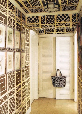 Quadrille Lyford Trellis wallpaper. One of my favorites, but this one, with the ceiling done, is especially attractive.