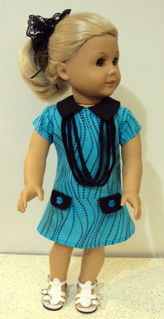 American girl Trendy dress or  18 inch dolls teal by craftymagaw, $18.99