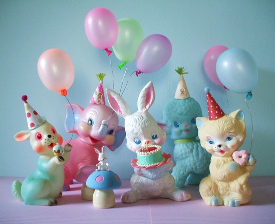 pastel party with retro animals and balloons