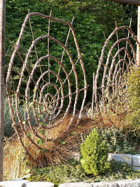 Chalice Well Gardens: Woven spiral garden structures #garden design #garden design ideas #garden decorating before and after