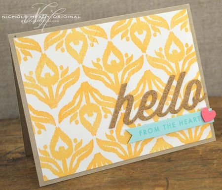 Hello From The Heart Card by Nichole Heady for Papertrey Ink (February 2013)