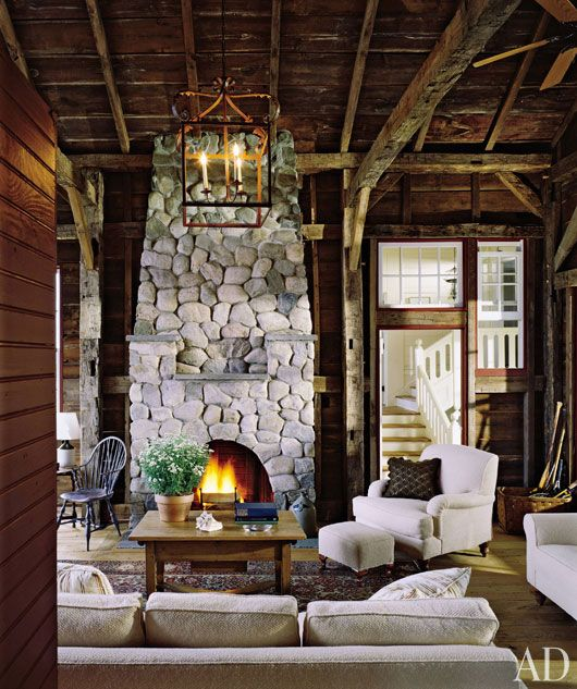Look at the stone fireplace!