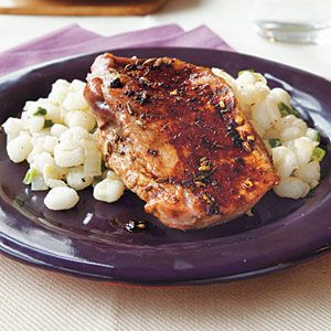 Grilled Plum and Prosciutto–Stuffed Pork Chops