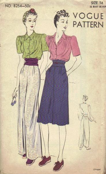 1940s wide-leg pants