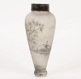 Daum Nancy Hand Painted Art Glass Lamp Base