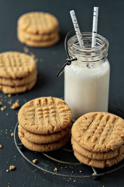 Honey-Peanut Butter Cookies and milk