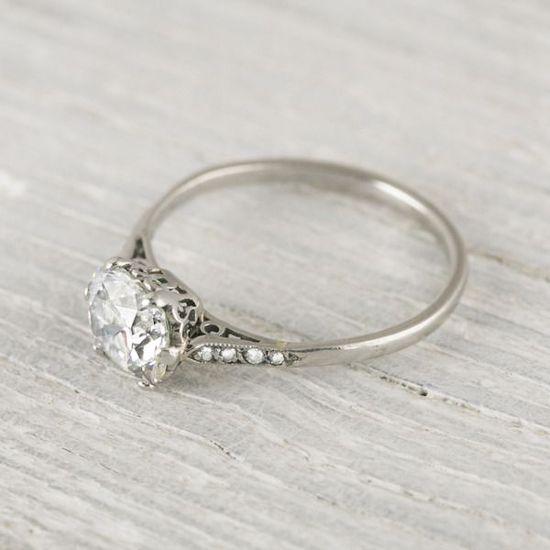 1 Carat Cushion Cut Vintage Engagement Ring   Erstwhile