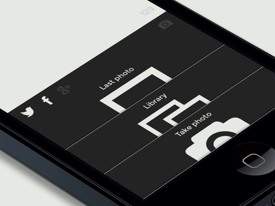 Postall Photo App Black and White UI