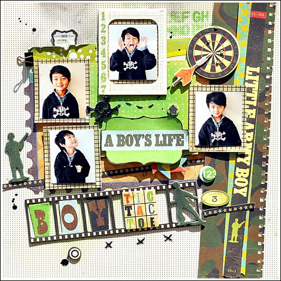 A BOYS LIFE - Scrapbook.com - Great page! #scrapbooking #layout #cratepaper