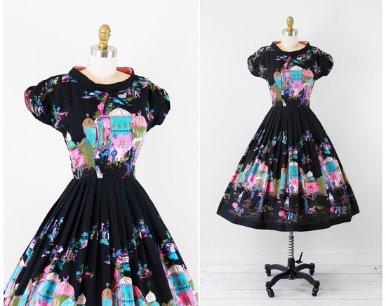 vintage 1950s 50s dress // Black, Pink, and Teal Novelty Print Painted Indian Palace Sundress