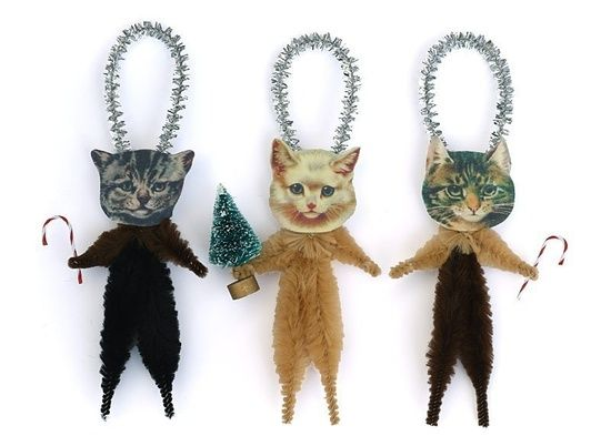 Christmas Cats Holiday Ornaments - Chenille Christmas Animal #pet girl #Cute pet #pet boy