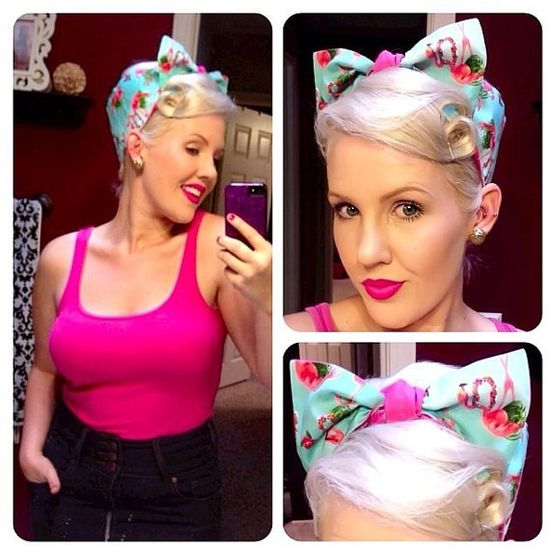 Vintage Inspired Head Scarf Hot Pink Flamingos by OhHoneyHush, $19.00