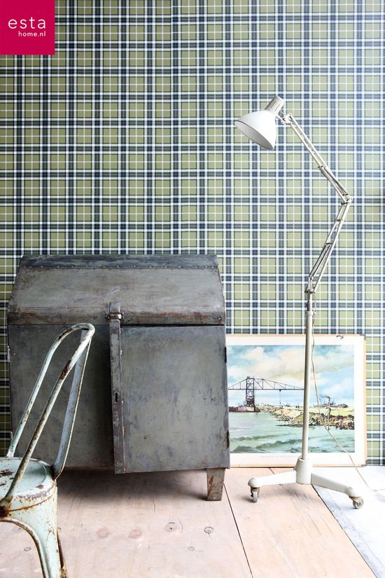 wallpaper checks army green, collection Denim & Co ESTAhome.nl #behang ruiten