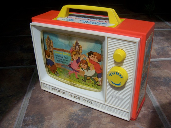 Vintage Fisher Price Giant Screen Music Box TV Toy