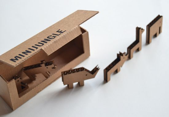Cute little cardboard animals.