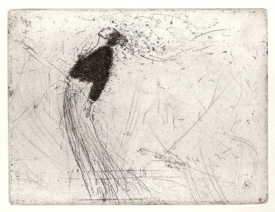 Woman by Karien Deroo  Bruges, Belgium, etching     look at thei implied  movement